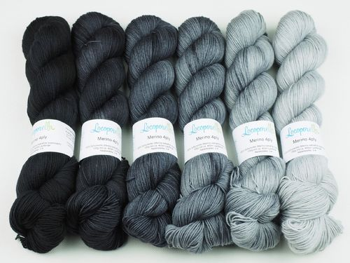 Black Fade, Sweater Set, 6 x 100 g Merino 4ply