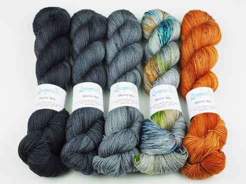Black Fox Fade, Sweater Set, 5 x 100 g Merino 4ply